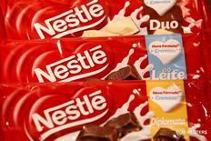 Шоколад Nestle в штаб-квартире компании в Веве, Щвейцария 18 февраля 2016 года. Швейцарский производитель продуктов питания Nestle сохраняет планы роста в России, оставаясь прибыльной в регионе Россия - Евразия, говорят представители компании. REUTERS/Pierre Albouy