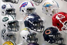 NFL team helmets are displayed at the NFL Headquarters in New York December 3, 2015. REUTERS/Brendan McDermid