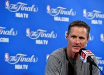 June 7, 2015; Oakland, CA, USA; Golden State Warriors head coach Steve Kerr speaks to media before the Warriors play against the Cleveland Cavaliers in game two of the NBA Finals at Oracle Arena. Mandatory Credit: Bob Donnan-USA TODAY Sports -