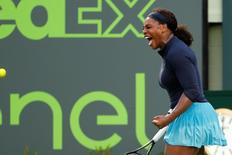 Mar 24, 2016; Key Biscayne, FL, USA; Serena Williams celebrates against Christina McHale (not pictured) on day three of the Miami Open at Crandon Park Tennis Center. Williams won 6-3, 5-7, 6-2. Mandatory Credit: Geoff Burke-USA TODAY Sports