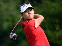 Aug 23, 2015; Coquitlam, British Columbia, CAN; Lydia Ko drives during the fourth round at Vancouver Golf Club. Anne-Marie Sorvin-USA TODAY Sports