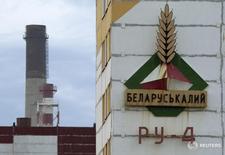 Вывеска на здании шахты Беларуськалия под Солигорском 31 августа 2013 года. Экспорт калийных удобрений из Белоруссии упал в годовом исчислении на 31,6 процента в январе 2016 года до 311.400 тонн, сообщил Белстат в понедельник предварительные данные. REUTERS/Vasily Fedosenko