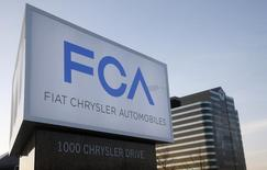 A new Fiat Chrysler Automobiles sign is pictured after being unveiled at Chrysler Group World Headquarters in Auburn Hills, Michigan in this May 6, 2014 file photo. REUTERS/Rebecca Cook