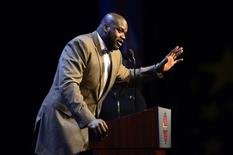 Feb 16, 2014; New Orleans, LA, USA; NBA legend Shaquille O'Neal speaks as he honored as the Legend of the Year during the 2014 NBA All-Star Game Legends Brunch at Ernest N. Morial Convention Center. Mandatory Credit: Bob Donnan-USA TODAY Sports
