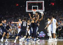 Apr 4, 2016; Houston, TX, USA; Villanova Wildcats forward Kris Jenkins (2) celebrates with teammates after making the game-winning shot against the North Carolina Tar Heels in the championship game of the 2016 NCAA Men's Final Four at NRG Stadium. Robert Deutsch-USA TODAY Sports