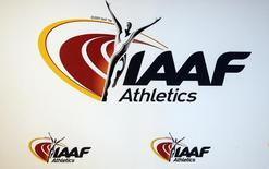 The logo of the International Association of Athletics Federations (IAAF) is seen in Monaco, March 11, 2016.   REUTERS/Eric Gaillard  -