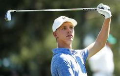 Apr 4, 2016; Augusta, GA, USA; Paul Chaplet, a 16-year-old high school senior from Costa Rica watches his tee shot on the 3rd hole during a practice round for the 2016 Masters at Augusta National GC. Mandatory Credit: Rob Schumacher-USA TODAY Sports