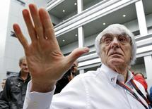 Formula One supremo Bernie Ecclestone speaks to the media at the paddock area ahead of the Russian F1 Grand Prix in Sochi, Russia, October 9, 2015. REUTERS/Maxim Shemetov