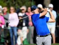 Apr 8, 2016; Augusta, GA, USA; Jordan Spieth hits his tee shot on the 15th hole during the second round of the 2016 The Masters golf tournament at Augusta National Golf Club. Mandatory Credit: Michael Madrid-USA TODAY Sports