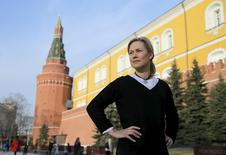 Anna Vaananen, head of Credit Suisse's $60 million Russian Equity Fund, poses for a picture by the Kremlin wall in central Moscow, Russia, April 8, 2016. Picture taken April 8, 2016. REUTERS/Maxim Shemetov