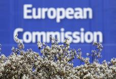 A sign is seen at the European Commission (EC) headquarters in Brussels, Belgium, April 12, 2016. REUTERS/Yves Herman