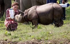 Catherine, the Duchess of Cambridge, feeds a baby rhino at the Centre for Wildlife Rehabilitation and Conservation (CWRC) at Panbari reserve forest in Kaziranga, in the northeastern state of Assam, India, April 13, 2016.  REUTERS/Anupam Nath/Pool
