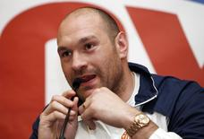 Boxing - Tyson Fury, Ricky Hatton & Naseem Hamed Press Conference - Landmark Hotel, London - 13/4/16 Tyson Fury during the press conference Action Images via Reuters / Paul Childs Livepic EDITORIAL USE ONLY