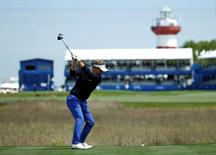 Apr 14, 2016; Hilton Head, SC, USA; Luke Donald hits his tee shot on the 18th hole during the first round of the RBC Heritage golf tournament at Harbour Town Golf Links. Mandatory Credit: Jason Getz-USA TODAY Sports