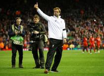 Técnico do Liverpool, Juergen Klopp, após vitória sobre o Borussia Dortmund na Liga Europa.    14/04/2016 Action Images via Reuters / Carl Recine Livepic