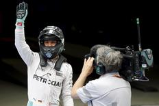 Mercedes Formula One driver Nico Rosberg of Germany after qualifying session. REUTERS/Aly Song
