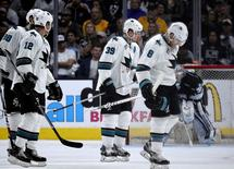 Apr 16, 2016; Los Angeles, CA, USA; San Jose Sharks center Logan Couture (39) skates to the bench after scoring a goal against the Los Angeles Kings during the second period in game two of the first round of the 2016 Stanley Cup Playoffs at Staples Center. Mandatory Credit: Kelvin Kuo-USA TODAY Sports