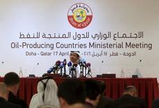 Ministro de Energia do Catar, Mohammad bin Saleh al-Sada, em coletiva de imprensa após reunião de produtores de petróleo em Doha 17/04/2016 REUTERS/Ibraheem Al Omari