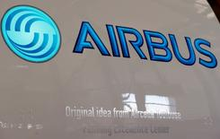 An Airbus logo is pictured on an engine during the delivery of the first series-production LEAP-1A propulsion systems by Aircelle for the A320neo aircraft Airbus family in Colomiers near Toulouse, Southwestern France, April 15, 2016. REUTERS/Regis Duvignau