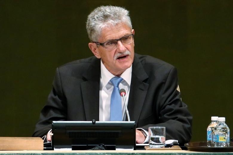 Mogens Lykketoft, president for the UN General Assembly, speaks after Pope Francis addressed a plenary meeting of the United Nations Sustainable Development Summit 2015 at United Nations headquarters in Manhattan, New York, September 25, 2015.   REUTERS/Mike Segar
