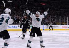 Apr 22, 2016; Los Angeles, CA, USA; San Jose Sharks right wing Joonas Donskoi (27) celebrates with right wing Joel Ward (42) after scoring a goal in the first period against the Los Angeles Kings in game five of the first round of the 2016 Stanley Cup Playoffs at Staples Center. Mandatory Credit: Kirby Lee-USA TODAY Sports