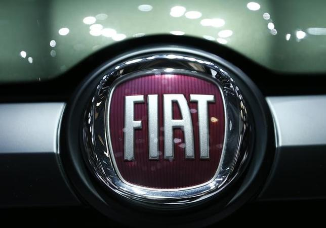 A logo of Fiat is pictured on the Fiat Panda at the 86th International Motor Show in Geneva, Switzerland, March 1, 2016.  REUTERS/Denis Balibouse