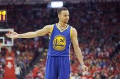 Apr 24, 2016; Houston, TX, USA; Golden State Warriors guard Stephen Curry (30) reacts to an official while playing against the Houston Rockets in the second quarter in game four of the first round of the NBA Playoffs at Toyota Center. Mandatory Credit: Thomas B. Shea-USA TODAY Sports