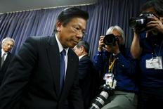 Mitsubishi Motors Corp's President Tetsuro Aikawa attends a news conference at the transport ministry in Tokyo, Japan, April 26, 2016.  REUTERS/Thomas Peter