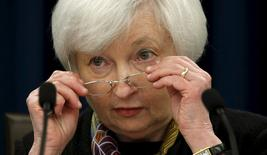 U.S. Federal Reserve Chair Janet Yellen removes her glasses during a press conference following the two-day Federal Open Market Committee (FOMC) policy meeting in Washington March 16, 2016.  REUTERS/Kevin Lamarque