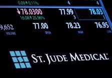 Торговая информация о St. Jude Medical на Нью-Йоркской фондовой бирже. Фондовые рынки США завершили торги четверга в минусе, поскольку неожиданное решение Банка Японии не вводить новые меры стимулирования экономики продолжило беспокоить инвесторов, в то время как падение акций Apple увеличило распродажу на рынках.  REUTERS/Brendan McDermid