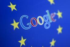 Google and European Union logos are seen in Sarajevo, in this April 15, 2015 photo illustration. REUTERS/Dado Ruvic