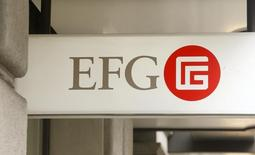 Logotipo do banco EFG, em Zurique. 22/02/2016. REUTERS/Arnd Wiegmann