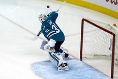 San Jose Sharks goalie Martin Jones (31) makes a save against the Nashville Predators in the second period in game two of the second round of the 2016 Stanley Cup Playoffs at SAP Center at San Jose. Mandatory Credit: Neville E. Guard-USA TODAY Sports