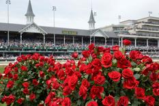 May 7, 2016; Louisville, KY, USA; General view of roses and the twin spires before the 142nd running of the Kentucky Derby at Churchill Downs. Mandatory Credit: Jamie Rhodes-USA TODAY Sports - RTX2DA5H