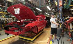 The frame of a 2015 Ford Mustang vehicle moves down the production line at the Ford Motor Flat Rock Assembly Plant in Flat Rock, Michigan, U.S. August 20, 2015.  REUTERS/Rebecca Cook/File Photo
