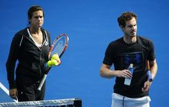 Britain's Andy Murray and his coach Amelie Mauresmo take part in a practice session on the eve of his final match against Serbia's Novak Djokovic, at the Australian Open tennis tournament at Melbourne Park, Australia, January 30, 2016. REUTERS/Jason O'Brien Action Images via Reuters - RTX24NBK