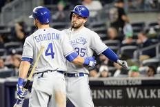May 9, 2016; Bronx, NY, USA; Kansas City Royals first baseman Eric Hosmer (35) celebrates his home run with left fielder Alex Gordon (4) during the eighth inning against the New York Yankees at Yankee Stadium. New York Yankees won 6-2. Mandatory Credit: Anthony Gruppuso-USA TODAY Sports