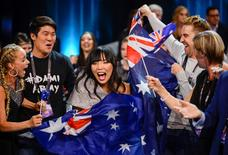 Australia's Dami Im and her team cheer in the Green Room during the Eurovision Song Contest 2016 semi-final 2 at the Ericsson Globe Arena in Stockholm, Sweden May 12, 2016. TT News Agency/Maja Suslin/via REUTERS