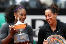 Tennis - Italy Open Women's Singles Final match - Serena Williams of the U.S. v Madison Keys of U.S. - Rome, Italy - 15/5/16 Williams and Keys smile as they pose with their trophies. REUTERS/Alessandro Bianchi