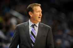 Nov 3, 2013; Oklahoma City, OK, USA; Phoenix Suns then head coach Jeff Hornacek reacts to a play in action against the Oklahoma City Thunder during the third quarter at Chesapeake Energy Arena. Mandatory Credit: Mark D. Smith-USA TODAY Sports