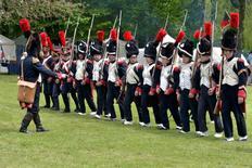 Performers take part in a re-enactment during festivities in Kelmis, Belgium, May 21, 2016. REUTERS/Eric Vidal