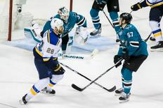 May 21, 2016; San Jose, CA, USA; St. Louis Blues center Kyle Brodziak (28) celebrates scoring against the San Jose Sharks in the second period of game four of the Western Conference Final of the 2016 Stanley Cup Playoffs at SAP Center at San Jose. Mandatory Credit: John Hefti-USA TODAY Sports