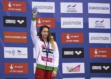 Swimming- European Aquatics Championships- Women's 400m freestyle final - London, Britain, 22/5/2016. Hungary's Boglarka Kapas celebrates victory.          REUTERS/Tony O'Brien
