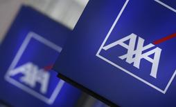 Logos of France's biggest insurer Axa are seen on a building in Nanterre, near Paris, March 8, 2016. REUTERS/Christian Hartmann/File Photo