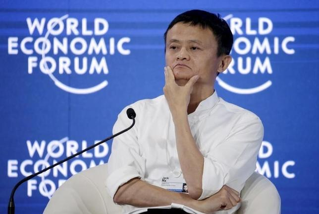 Chairman and chief executive of Alibaba Group Jack Ma reacts during a session of ''Future-Proofing the Internet Economy'' at the World Economic Forum (WEF) in China's port city Dalian, September 9, 2015.  REUTERS/Jason Lee