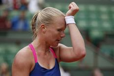 Tennis - French Open - Roland Garros - Angelique Kerber of Germany vs Kiki Bertens of the Netherlands - Paris, France - 24/05/16. Kiki Bertens reacts at the end of the match. REUTERS/Benoit Tessier