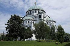 The proposed location where the monument to Serbian-American inventor Nikola Tesla will be erected, is pictured in front of St. Sava temple in Belgrade, Serbia, June 2, 2016. REUTERS/Marko Djurica