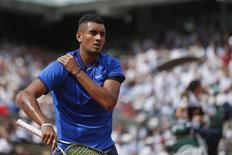 Tennis - French Open - Roland Garros - Nick Kyrgios of Australia vs Richard Gasquet of France - Paris, France - 27/05/16. Nick Kyrgios reacts. REUTERS/Benoit Tessier
