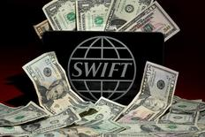 The SWIFT logo is pictured in this photo illustration taken April 26, 2016. REUTERS/Carlo Allegri/Illustration/Files