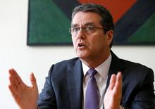 Chefe da OMC, Roberto Azevêdo, durante entrevista à Reuters em Genebra.   03/06/2016      REUTERS/Denis Balibouse